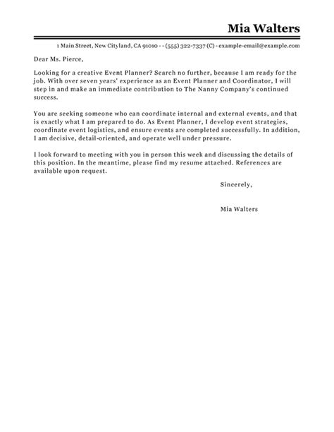 event planner cover letter examples livecareer