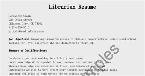 Librarian Resume Exles 2015 by Resume Sles Librarian Resume Sle