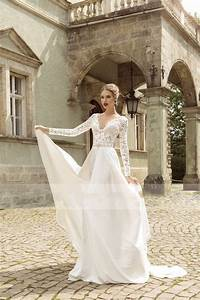 wd145 2015 white v neck lace long sleeve beach wedding With flowing beach wedding dresses