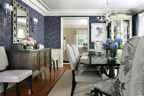 blue dining room  black dining table  white leather