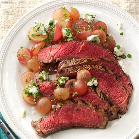 steak and grape balsamic steak with red grape relish recipe taste of home