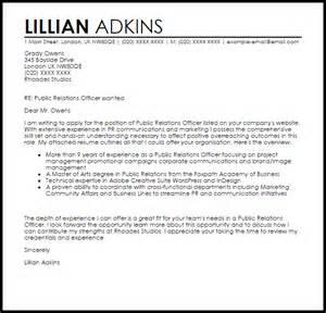 relations officer cover letter sle livecareer
