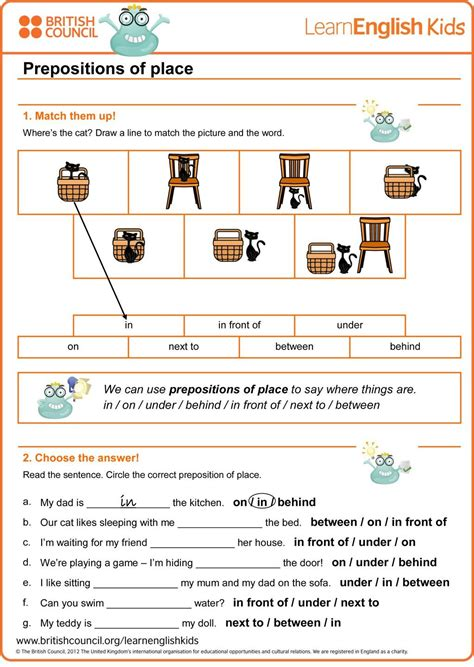 prepositions  place worksheet british council worksheets