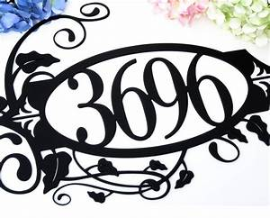 Buy a Hand Crafted House Number Metal Sign Vines 4