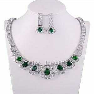 Green Stone Emerald Topaz 10k White Gold Plated Earrings ...