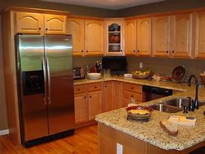 Kitchen paint colors oak cabinets with island design for What kind of paint to use on kitchen cabinets for brown metal wall art