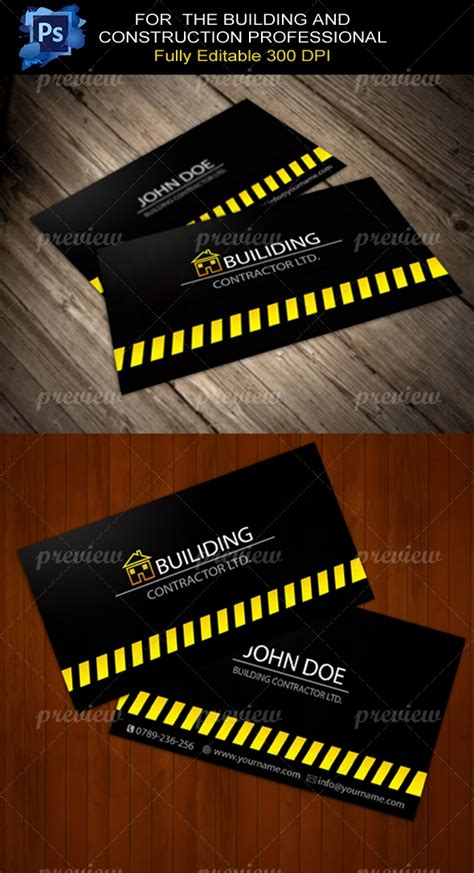 building contractor business card print codegrape
