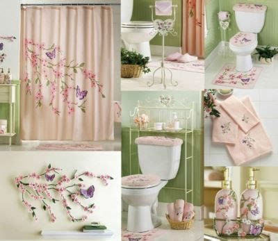 cherry blossom bathroom pink floral butterflies shower