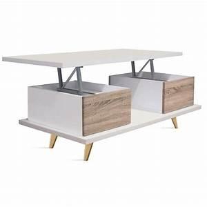 Table Basse Blanc Bois : table basse relevable en bois coloris blanc cambrian dim l 100 x p 55 x h 39 52 cm achat ~ Teatrodelosmanantiales.com Idées de Décoration