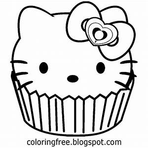Cupcake Coloring Pages Throughout - Hello Kitty Cupcake ...
