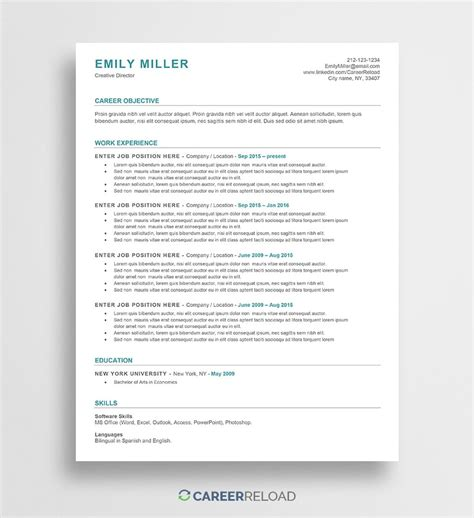 Resume Word Templates by Free Word Resume Templates Free Microsoft Word Cv Templates