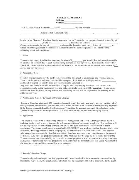 designed rental agreement letter samples
