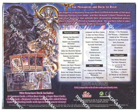 monarch structure deck konami yu gi oh emperor of darkness structure deck box