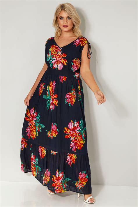 Dunkelblaues Blumen & Pailletten Verziertes Maxi Kleid, In