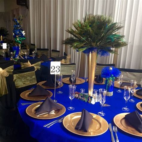 buy sweet 16 centerpiece peacock royal blue and gold decorations peacock sweet 16