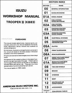 1986 Isuzu Trooper Ii Repair Shop Manual