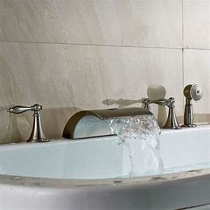 Brushed Nickel Roman Waterfall Bathroom Tub Mixer Tap Faucet With Hand Shower