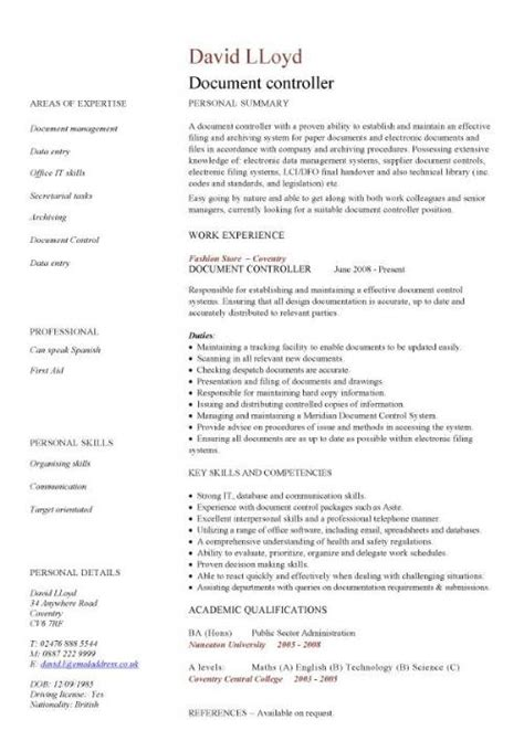 Document Controller Resume Format Gas by Document Controller Cv Sle Description File