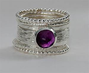unique rose cut purple amethyst wedding ring stackable With unique stackable wedding rings