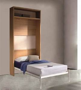 Lit Avec Armoire : armoire lit escamotable atlas avec etagere couchage 90 190cm ~ Teatrodelosmanantiales.com Idées de Décoration
