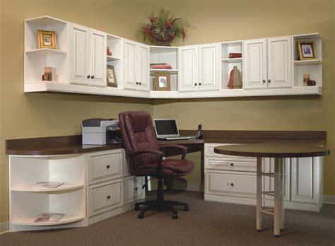 faux kitchen cabinets home office with extended table and lots of storage 3721