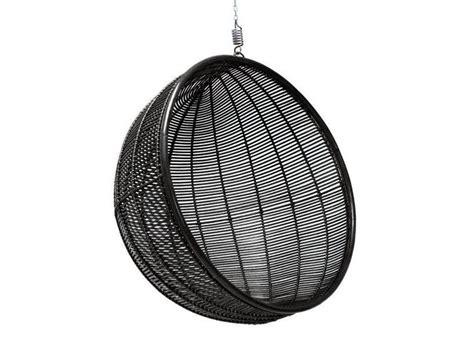 Hk-living Rattan Hanging Chair Round Black