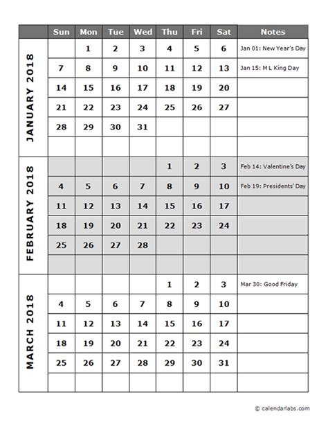 quarterly calendar template  printable templates