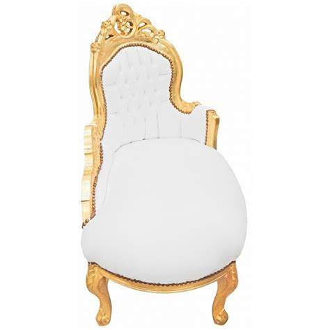 chaise style baroque baroque chaise longue white leatherette with gold wood