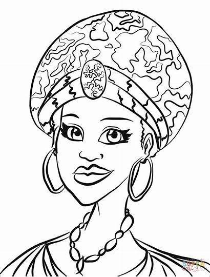 Coloring Africa Pages Woman African Portrait Culture