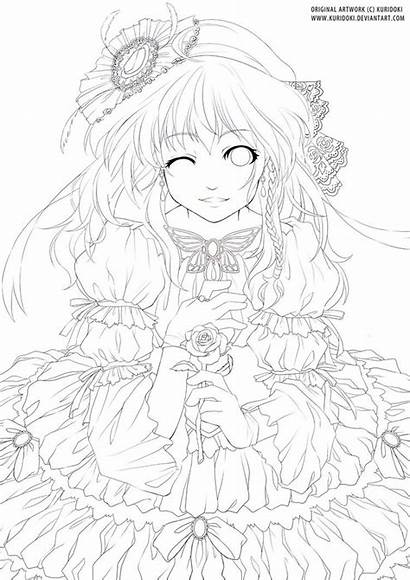 Lineart Deviantart Coloring Adult Rose Manga Lady