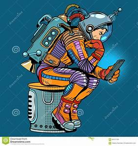 Retro Astronaut With A Smartphone Stock Vector - Image ...