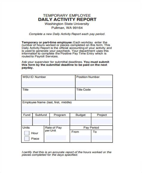 sample activity reports  word pages google