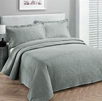 king size coverlets King size 3 pc Solid Embossed bedspread Bed Cover New Over size Grey | eBay