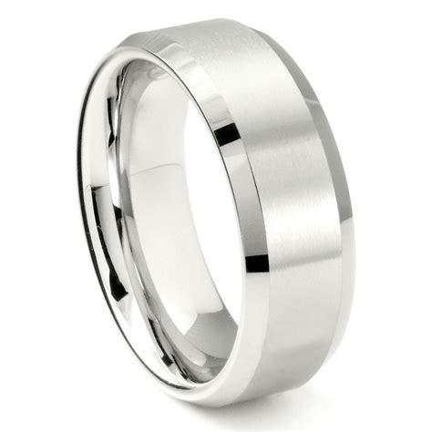 White Tungsten Carbide 8mm Beveled Wedding Band Ring