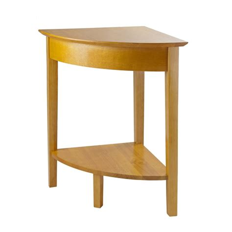 corner accent table shop winsome wood studio honey corner end table at lowes com