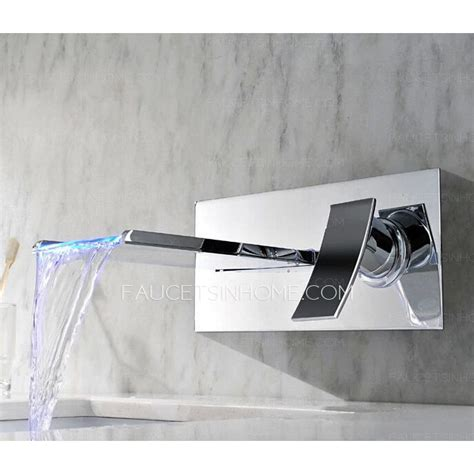 wall mounted led waterfall faucet modern waterfall one wall mounted led faucet for bathroom