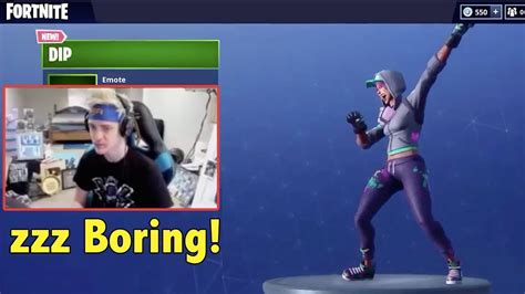 ninja reacts  fortnite dip emote yeet dance youtube