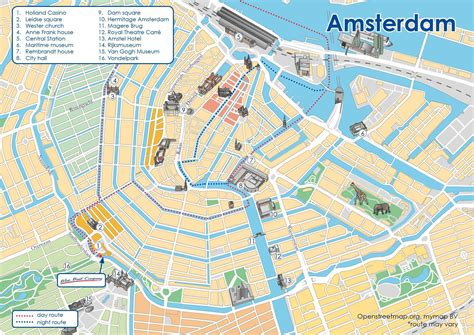 amsterdam canal boat route map map  amsterdam canal