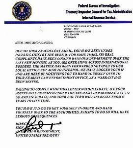 Fake IRS, Treasury Department, FBI letter FEDERAL BUREAU INVESTIGATION ANTI FRAUD DEPARTMENT