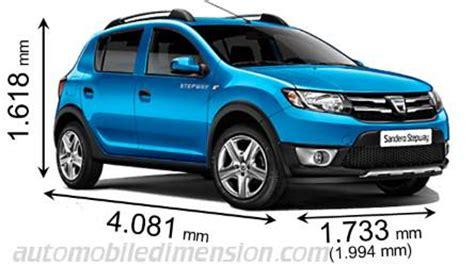 dimension dacia sandero dimensions of dacia cars showing length width and height