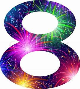 Mathematical sign, number eight, stylized colorful holiday
