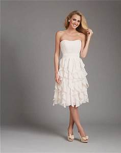 A line strapless short ivory cream chiffon ruffle wedding for Cream dress wedding guest