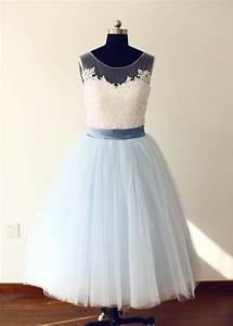 scoop sheer illusion neckline ivory lace blue tulle short With short blue wedding dress
