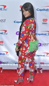 Camila Cabello Wears Elf Onesie Later Black Sequin