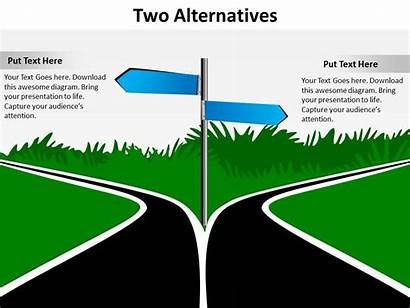 Road Powerpoint Options Alternatives Opposite Directions Signs