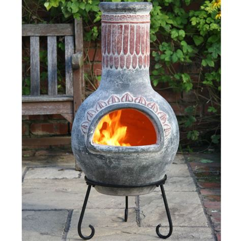 gardeco clay chiminea plumas design large 110cm on sale - Chiminea On Sale