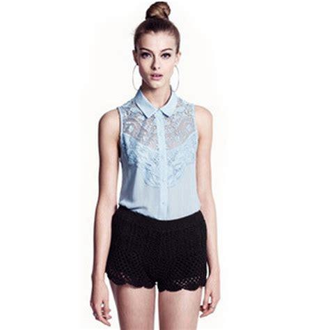 plus size lace blouse fashion lace crochet collar sleeveless chiffon blouse plus
