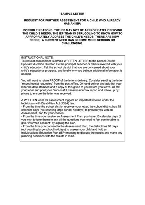 sample letter  request   assessment