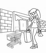 Shopping Coloring Pages Cart Adult Printable Getcolorings Baby Illustration Cute sketch template