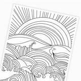 Coloring Sunset Waves Ocean Printable Drawing sketch template